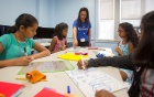 Girls participating in the Summer math program