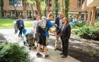 A. Scott Weber and President Tripathi welcomed new students to the University during new student move-in