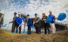 Ground breaking for the UB Fieldhouse. From Left Athletic Director Allen Greene, Brent Murchie, Nevin Murchie, President Satish K. Tripathi, Brittany Acevedo, Scott Murchie.