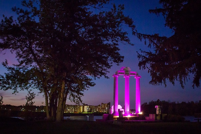 Baird Point was bathed in purple lights in honor of Domestic Violence Awareness month.