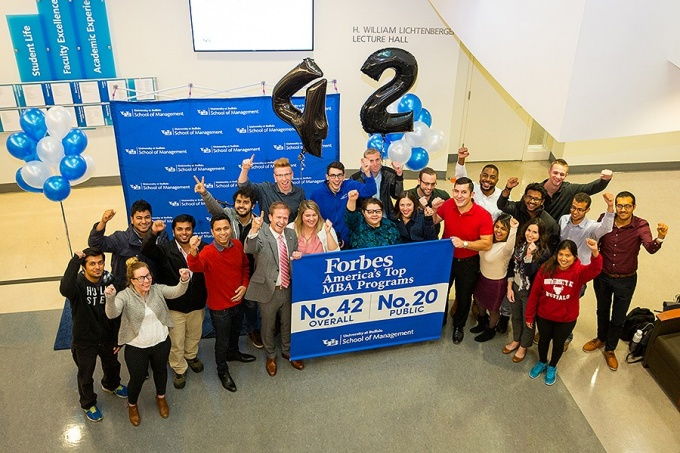 The School of Management celebrated their new Forbes ranking—#42 overall, #20 of Public universities.