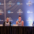 From left, Stephanie Reid, Cierra Dillard, Cassie Oursler and UB Coach Felisha Legette-Jack met the national media on Friday.
