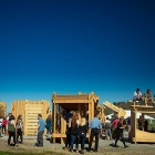 Wooden structures created by freshman architecture students as part of a yearlong design-build studio are on display at Artpark in Lewiston.