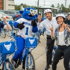 From left, Nina Zesky, Victor E. Bull, Parking & Transportation Services Director, Christopher Austin and Reddy Bikeshare Marketing and Communications Executive Jennifer White get ready to try out the new bikes.