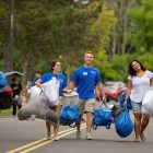 New UB students and their families get some help from the Move In Crew during Welcome Weekend.