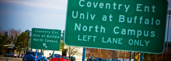 Campus road sign.