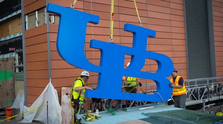 UB Logo at the new JSMBS Building.