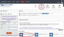 Screenshot of Concur approver screen pointing to where to click to access required approvals.
