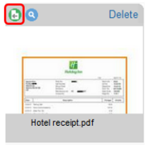 Screenshot of Concur showing the icon to click to attach a receipt to an expense.