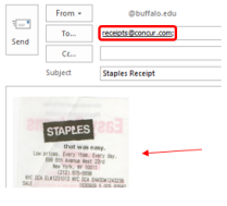 Screenshot showing how to send an email to receipts@concur.com
