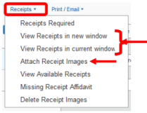 Screenshot of Concur showing how to attach supporting documentation to an expense report.
