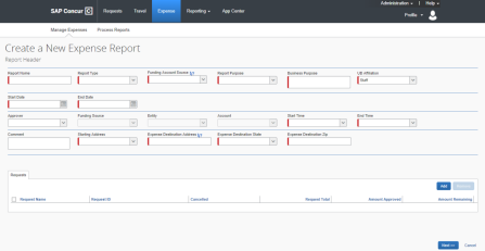 Screenshot of Concur showing the expense report header and required fields marked in red.