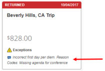 Screenshot of Concur showing an expense report returned for correction by an approver. Arrow pointing to the approver's comment for correction.