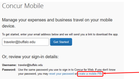 Screenshot of Concur pointing to the link to create a mobile pin.