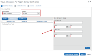 Screenshot of Concur showing the travel itinerary fields to complete for a travel reimbursement.