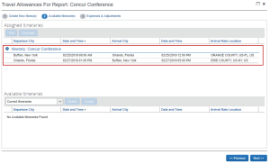 Screenshot of Concur showing how to view your available itineraries.