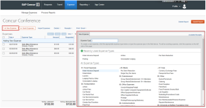 Screenshot of Concur showing where to enter new expenses on an expense report.