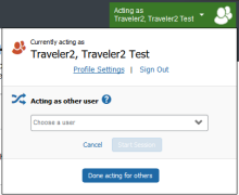 Screenshot of Concur profile showing an active delegate session with the header marked in green.