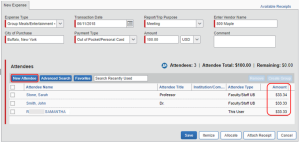 Screenshot of Concur showing how to enter a group meal with less than 10 attendees.