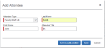 Screenshot of Concur adding an attendee to a group meal with less than 10 attendees.