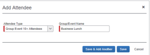 Screenshot of Concur adding a group name to a group meal with more than 10 attendees.