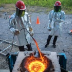UB researchers experimenting with lava and water.