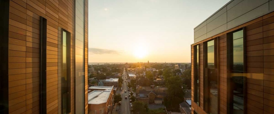 A brilliant twilight over the city of Buffalo from an upper floor of the downtown campus.