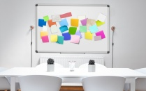 White board covered in colorful sticky notes.