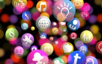 Social networking icons as colourful bubbles.