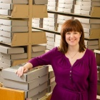 Amy Vilz in an archive room.