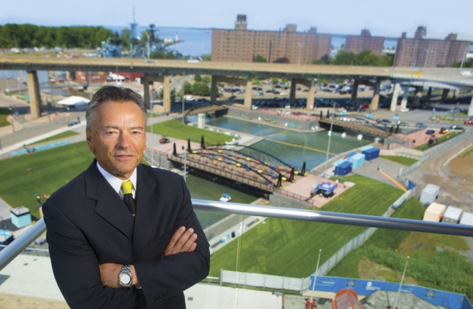 Tom Dee at Canalside, the heart of Buffalo's waterfront revitalization plan.