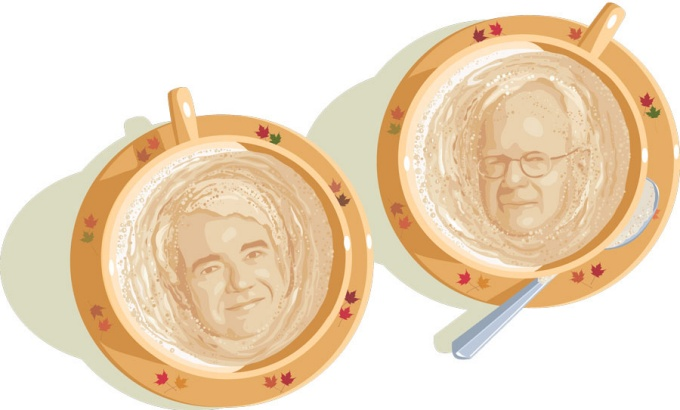 An illustration of Jerry Newman and Paul Zarembka faces in the foam of two cups of coffee