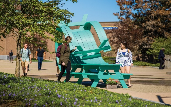 """Whippy,"" one of UB's newest public sculptures, was installed this spring on the North Campus."