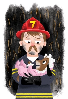 A illustration of a firefighter and a puppy dressed as a baby