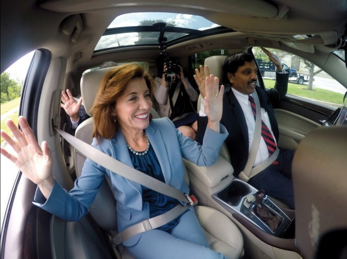 A self-driving SUV with New York Lt. Gov. Kathy Hochul in the passenger seat