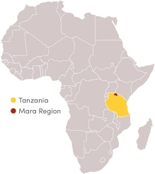 Map of Africa showing Tanzania and Mara Region