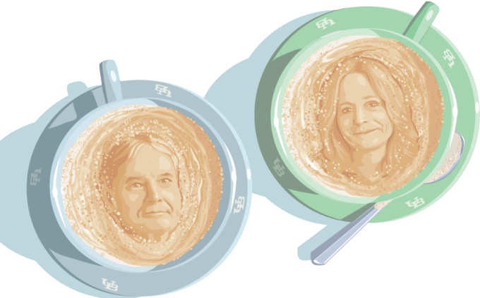 An illustration of Donald Grinde and Nellie Drew in coffee foam