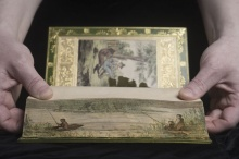"The ""fore-edge painting"" on UB's copy of ""The Complete Angler."""