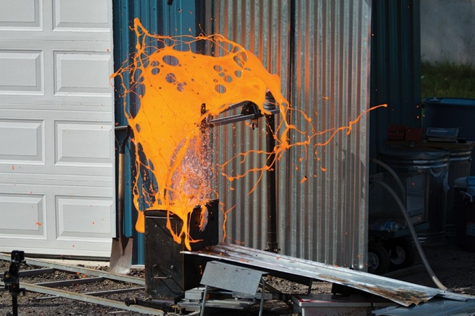 simulated lava explosion.