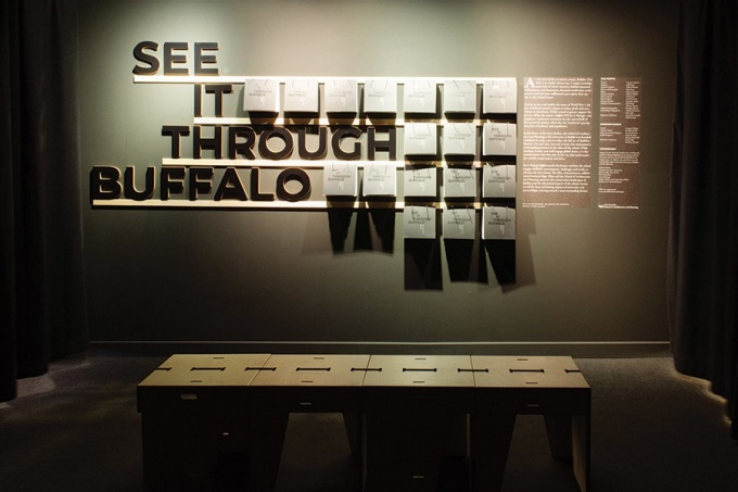 Inside the UB exhibit. A team of five students designed the catalog, the bench, and the look and feel of the space.