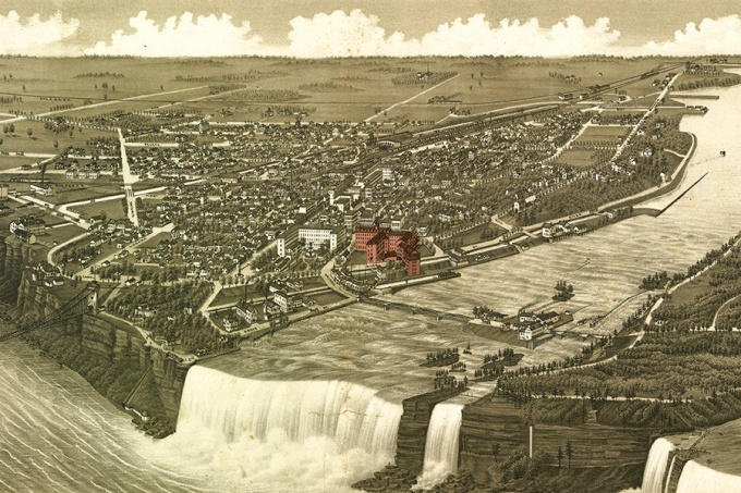 An 1882 map of Niagara Falls.