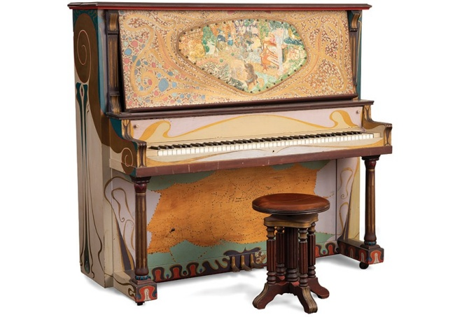 Decorated piano by Jess, undated.