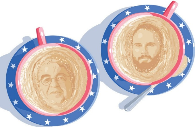 An illustration of James Campbell and Jacob Neiheisel's faces in the foam of two cups of coffee