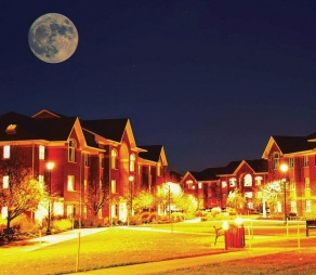 An extra-super supermoon over South Lake Village, North Campus.