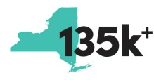 New York State Graphic denoting the number 135k.