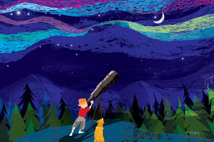 Illustration of a boy looking at the night sky with a telescope.