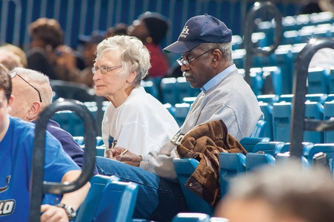 Evans and his wife, Bobbie, at a game.