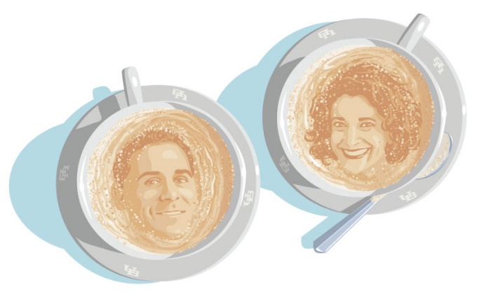 An illustration of Jody K. Biehl and Michael Stefanone in coffee cups