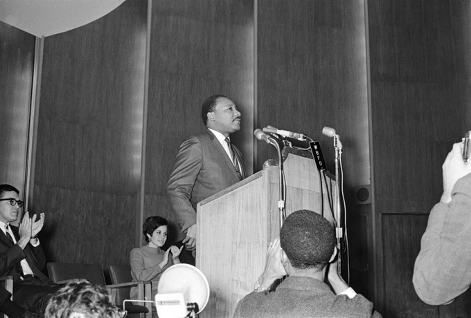 Photo of Martin Luther King Jr. speaking on stage