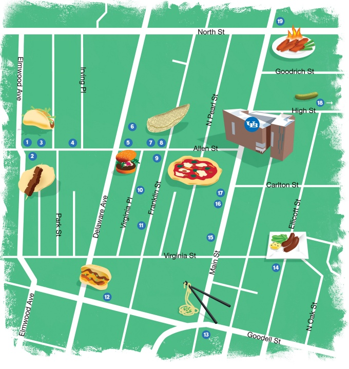 A map of restaurants in approximation to UB's Downtown Campus.